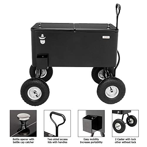 VINGLI 80 Quart Wagon Rolling Cooler Ice Chest, w/Long Handle and 10' Wheels,...