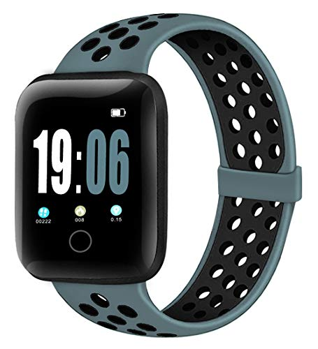 Elaikement Sport Band Compatible with Watch Bands 42mm 44mm Women Men, Breathable Sporty Replacement Wristband Compatible for Series 6/5/4/3/2/1/SE All Various Styles,42/44mm M/L - Celestial Teal/Black
