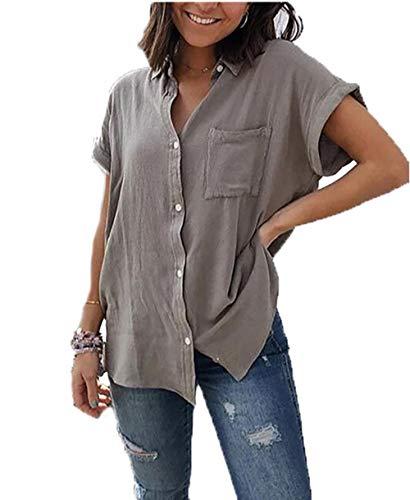 Yutila Damen Sommer Kurzarm Blusen Button Down hemdbluse Casual Shirt, Grau, XL(EU 42)