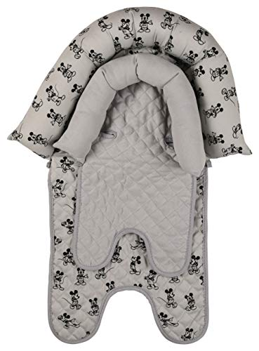 Disney Mickey Mouse Baby Boys Infant Head Support for Car Seats, Strollers & Bouncers, Print, Gray Mickey (GS71384)
