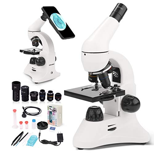 Microscope for Kids Students Adults Beginners, 40X-2000X Dual LED Illumination Metal Body, Optical Glass Lens Lab Compound Monocular Microscope with Slides Phone Adapter Science Kit