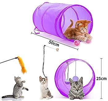 Toozey Jouets Chat 24 Pièces Jouet Chat Jouet à Plumes pour Chat Jouet Chaton et Kitty avec Plumes, Tunnel, Balles, Souris et Boules avec Sac de Rangement