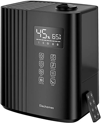 Elechomes 6.5L Top Fill Humidifier, Warm and Cool Mist for Bedroom Large Room with Remote Control, Humidity Monitor, Auto & Sleep Mode, 360° Nozzle, 1-12H Timer, Auto Shut-Off SH8830 (Black)