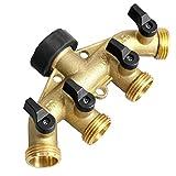youeneom 4-Way Garden Hose Connector Tap Splitter Hose Manifold, Heavy Duty Brass, Water Hose Splitter, Outlet Splitter for Garden Irrigation(American Thread 3/4) (gold)