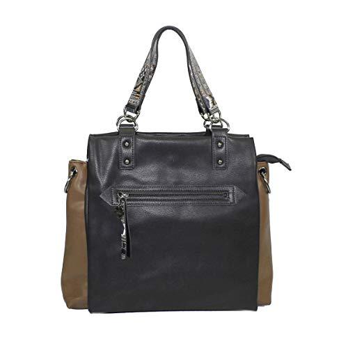Glüxklee Damen Handtasche zweifarbig (Schwarz/Taupe)