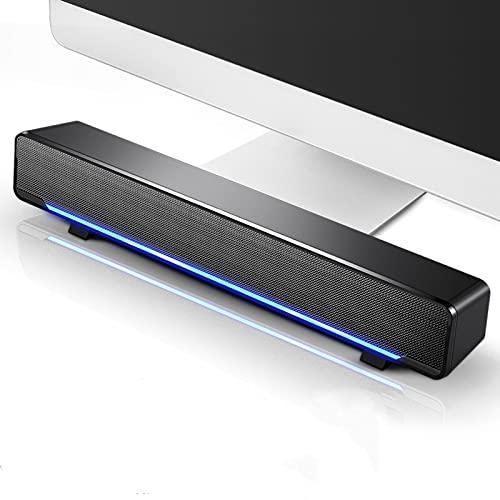 HBOY Barra de sonido con cable de 3,5 mm para altavoces de PC TV para bar, subwoofer estéreo, potente caja de sonido envolvente, color negro