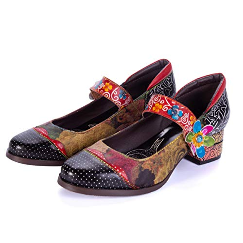 CrazycatZ Womens Leather Mary Jane Shoes Colorful Patchword Block Heel Pumps Vintage Mary Jane Shoes (40 EU 9 US, SM-05)
