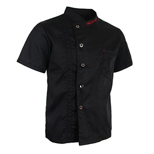 #N/A/a Chaquetas de Chef Abrigo de Manga Corta Uniformes de Chef Hotel Restaurante Ropa de Trabajo - Negro, M