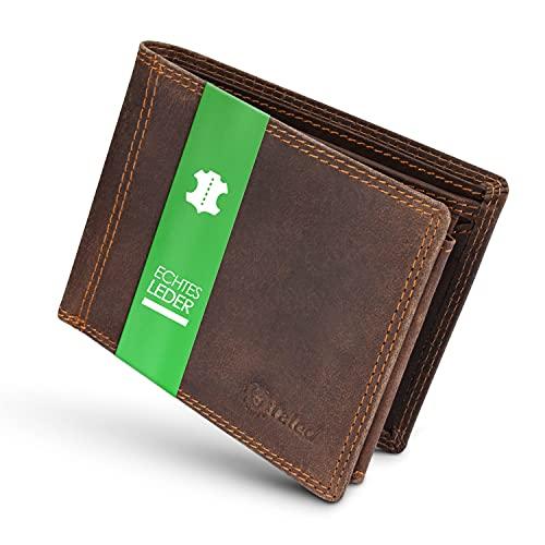 TALED Geldbörse Herren aus hochwertigem Vintage Leder mit RFID-Schutz - Geldbeutel inkl. E-Book zur Lederpflege - Portemonnaie Wallet - Designed in Germany