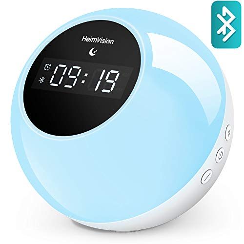heimvision Music Wake Up Light, Sunrise Digital Alarm Clock with Snooze Sleep Aid Function, 6 Nature Sounds 7 Colored LED Night Light Wireless Speaker for Home, Kids, Party, Camping