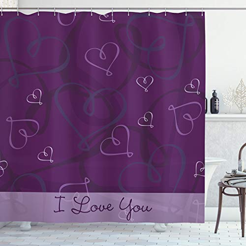 Ambesonne Romantic Shower Curtain, Lavender Colored Romantic Themed Image with Hand Drawn Hearts Image, Cloth Fabric Bathroom Decor Set with Hooks, 70' Long, Eggplant Purple