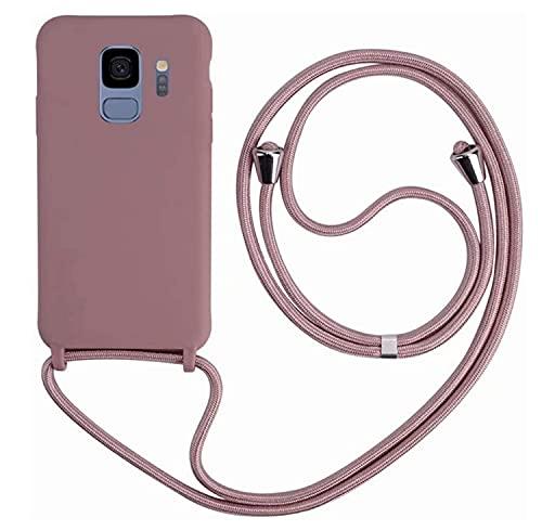 MEIVS Funda Compatible con Samsung Galaxy S9 Plus, Ajustable Collar Correa de Cuello CordónCarcasa de Silicona-Loto Color