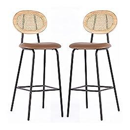 Ensemble de 2 tabourets de bar modernes, tabourets de bar chaise en cuir PU + rotin avec repose-pieds dossier tabouret…