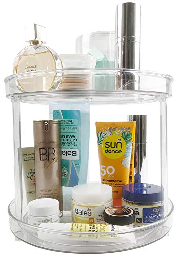 Lazy Susan Turntable 2-Tier Spice Rack Spinning Cabinet Organizer Rotating Condiment Tray Spinner for Pantry Kitchen Vanity Bathroom Jewelry Container Makeup Holder Cosmetic Storage 9.2-Inch Clear