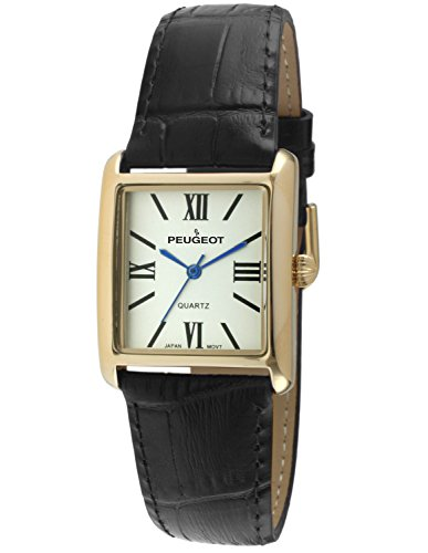 Peugeot Women's 14K Gold Plated Tank Leather Dress Watch with Roman Numerals Dial, Black