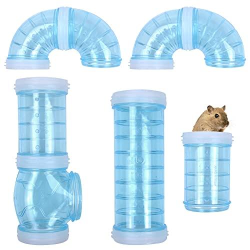 AvoDovA Túnel de Hámster, 8 Pcs Hámster Tubo Túnel, Juego de Tubos Externos de Aventura Jaula de Hámster, Juguetes Túnel para Hámster para Ampliar el Espacio, Azul