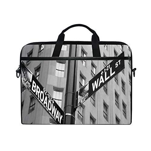VICAFUCI New 15-15.4 Zoll Laptop Tasche,Umhängetasche,Handtasche,Straßenschilder der Kreuzungs-Wand und des Broadways finanzieren Art Destinations