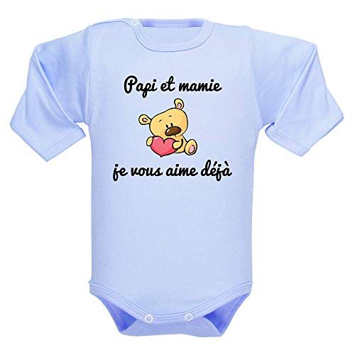 Body manches longues, bodies bébé, brassière enfant, papi, mamie, amour, message, fête des grands-mères, cadeau - bleu clair, 6-12 mois