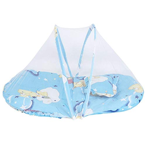 YOUTHINK Portable Baby Tent,Foldable Newborn Toddler Crib Mattress Travel Bed with Mosquito Net Cartoon Baby Outdoor Travel Crib (Blue)