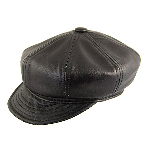 Village Hats Casquette Gavroche en Cuir d'agneau Noir New York Hat CO. - Medium