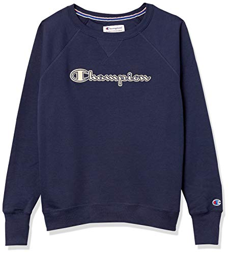 Champion Damen Powerblend Boyfriend Crew Sweatshirt, Athletic Navy-Applikation, Medium