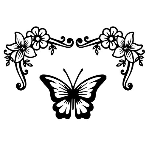 GenericBrands 3 Pcs Car Stickers And Decals 18X119Cm Butterfly Flower Waterproof Self-Adhesive For Laptop Skateboard Suitcase Guitar Moto Car Bike Diy Party Supply Patches Decal