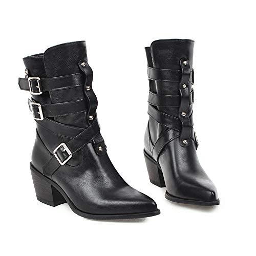 High Heels Mit Dickem Absatz Und Spitzen Schuhen In Stiefeln -36