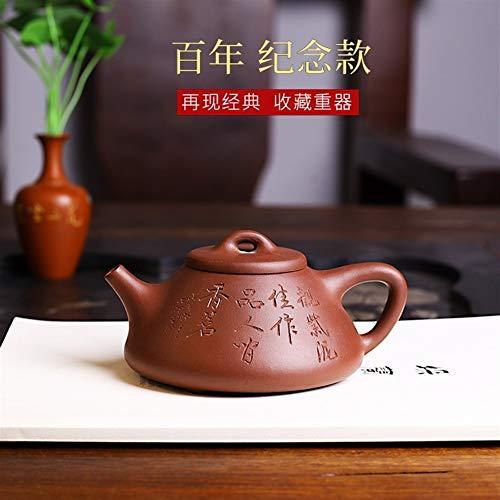Ceramics Teekanne ton teekanne Porzellan Teekanne berühmte handgemachte lila Ton Erz Sohn Ye Jing Zhou Stein Schaufel Teekanne volle manuelle Neuheit Teekanne Teesieb Teekanne (Color : Purple mud)