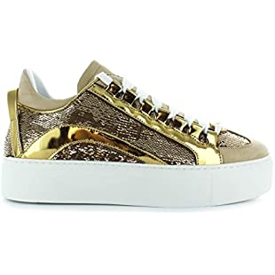 Women's Shoes Dsquared2 551 High Sole Gloden Sequins Sneakers FW 2019:Amedama