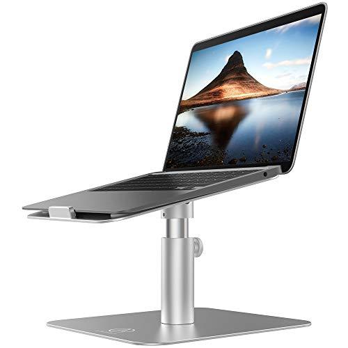 Verstellbarer Laptop ständer für Schreibtisch, Computerständer für Laptop mit kühlem Aluminiumdesign, Höhe und Blickwinkel verstellbar, 360 drehbar, Silber