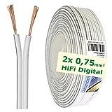 erenLINE® 10 m Lautsprecher-Kabel 2X 0,75 mm² weiß; Boxenkabel; Lautsprecher-Verlegekabel: für HiFi Anlage, Home Cinema, KFZ/Auto, Multi-Media; Meterware