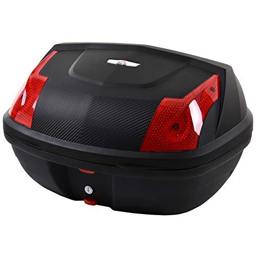 HOMCOM Maletero de Scooter Baúl de Moto para 1 Casco Integral y 1 Medio Capacidad de 48L Fibra de Carbón Cerradura con 2 Llaves Accesorios 58x44,5x33,5 cm Negro