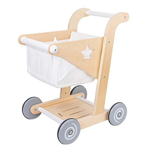 Carrito de compras para niños juguete Niños Compras Trolleys Juguetes de Madera Compras Trolley Canasta Prtend Rol Play Niños Supermercado Play Shop Tienda de comestibles Carro Juguetes para 3 4 5 6 a