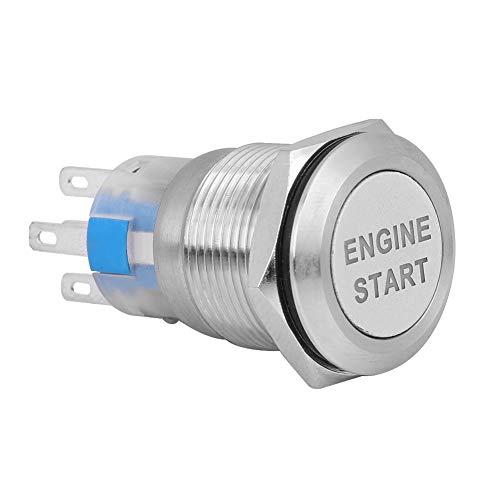 EVGATSAUTO Dc 12v 50a Arrancador del botón del motor de arranque del automóvil, Interruptor del botón de arranque del motor del automóvil a prueba de agua Arrancador de encendido(Plata)