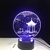 GX1529 Star Ancient Pavilion 3D Lámpara de mesa Kids Toy Gift Shape LED Table Small Night Lamp