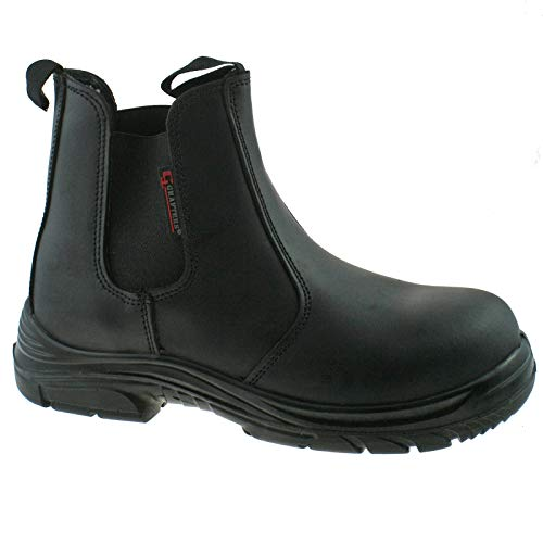 MENS GRAFTERS BLACK LEATHER WIDE FITTING SAFETY DEALER BOOTS SIZE 6–12 M9502A KD-UK 8 (EU 42)