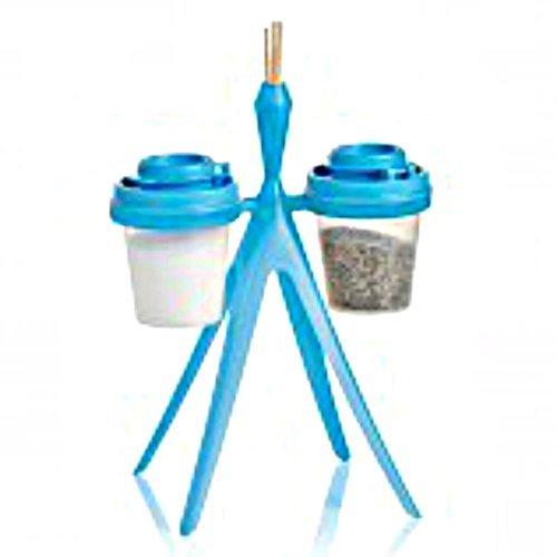 Tupperware Salt Pepper Mini Travel Shakers Midgets Blue NEW with Holder Stand