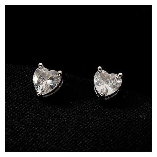 SSN S925 Sterling Silver Love Pendientes Color Hembra Pendientes Zircon Pendientes De Nicho Pendientes En Forma De Corazón (Color : Blanco)