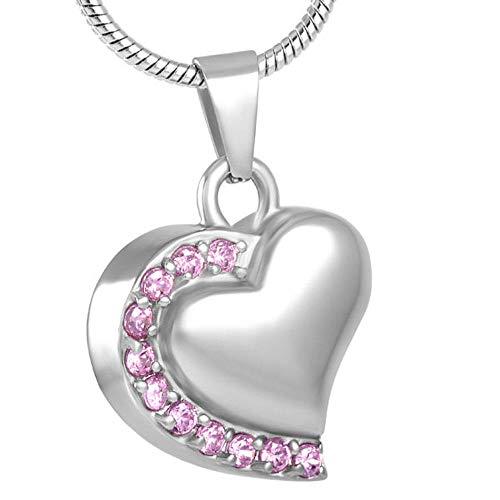 KBFDWEC Corazón Cremación Urna Collar Colgante Collar Diamante de imitación Rosa Memorial Ceniza Recuerdo Joyería de cremación