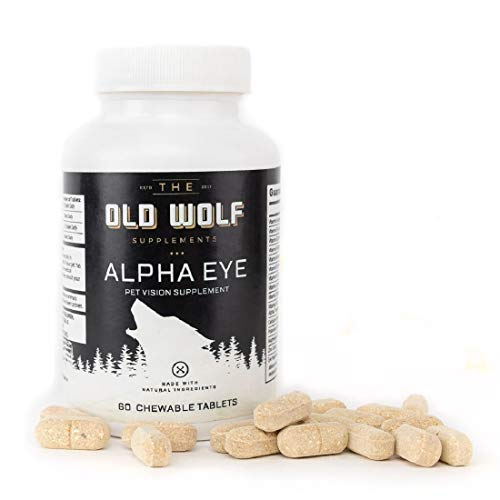 The Old Wolf Alpha Eye Vision Supplement for Dogs: Vision Support with L-Lysine & Lutein  Bilberry Fruit for Optimal Ocular Health - 60 Chewable Tablets