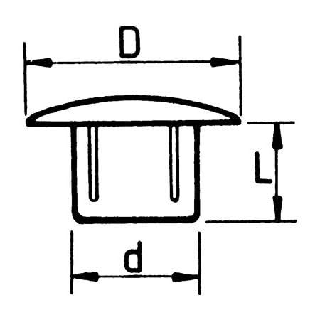 color blanco crema tap/ón: cubre agujero para muebles de 10 mm blanco 20 tapones para agujero de 10 mm Irox MTP100614CI cabeza: 14 mm pl/ástico profundidad del orificio: 6 mm