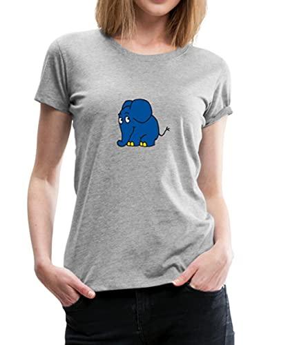 Spreadshirt Sendung Mit Der Maus Kleiner Elefant Stehend Frauen Premium T-Shirt, L, Grau meliert