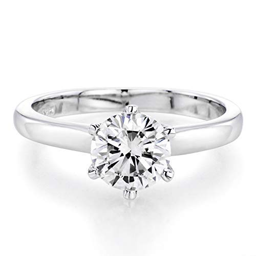 14K White Gold 6MM Moissanite Max New Free Shipping 66% OFF Forever Colvard Charles by and One
