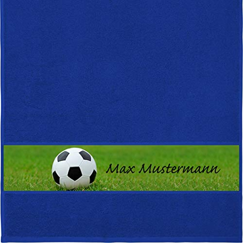 Manutextur Handtuch mit Namen - personalisiert - Motiv Sport - Fußball - viele Farben & Motive - Dusch-Handtuch - Royalblau - Größe 50x100 cm - persönliches Geschenk mit Wunsch-Motiv und Wunsch-Name