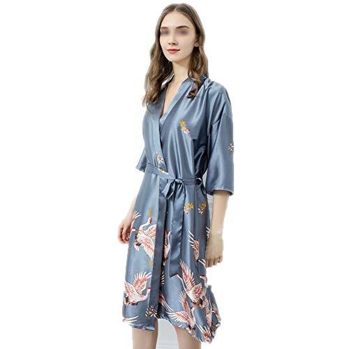 Vrouwen kimono lang satijn zijden gewaad pyjama badjas jurk pauw Bloemen Gedrukt V-hals,Blue,XL