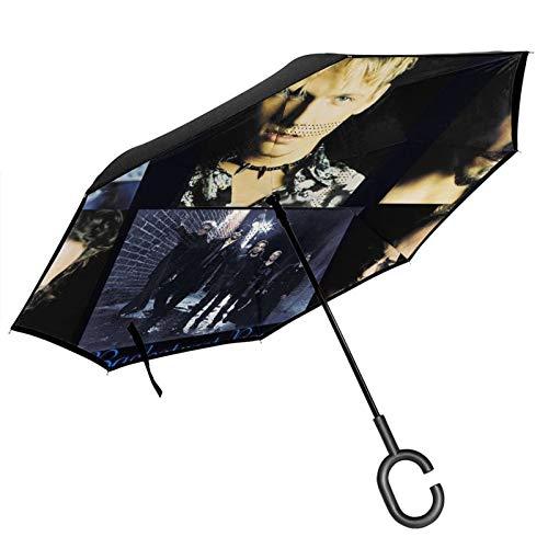 Backstreet - Paraguas invertido, resistente al viento, doble capa, plegable, impermeable, para protección contra la lluvia, coche, viajes, al aire libre, hombres y mujeres