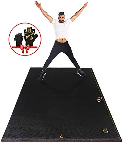 GXMMAT Trainingsmatte (180 cm X 120 cm X 7 Mm), Dicke Trainingsmatte, Extra Breite, rutschfeste, Strapazierfähige Cardio-Matte, Schuhfreundlich|Schwarz|groß