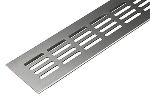 Lüftungsgitter Tür-Gitter Edelstahl Abluftgitter Aluminium | Belüftungsgitter eckig | 400 x 60 mm | Möbel-Gitter Alu für Heizung - Wand uvm. | MADE IN GERMANY | 1 Stück - Lüftungsblech Oval zum Lüften
