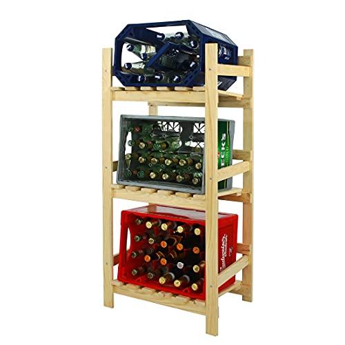 Getränkekistenregal/Kastenregal/Getränkeregal/Regal für Getränkekisten, Holz, Kiefer Natur - H 112 x B 52 x T 36,5 cm