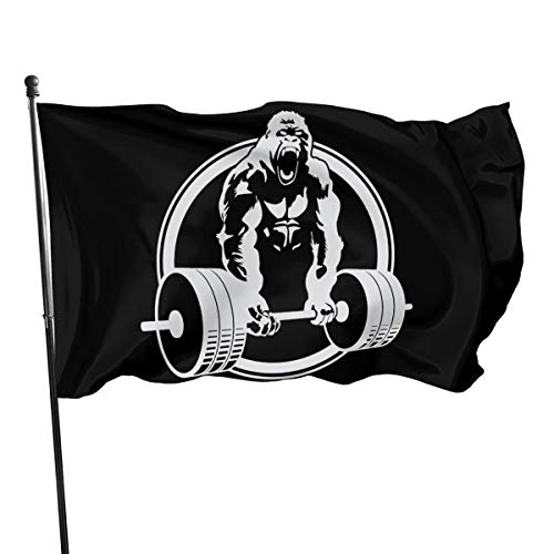 HBWUYZU-T 3x5 Ft Polyester Flag Gorilla Lifting Weightlifting - Vivid Color and UV Fade Resistant
